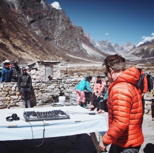 Paul Oakenford - DJ set at Everest Basecamp (photo: Kenton Cool)